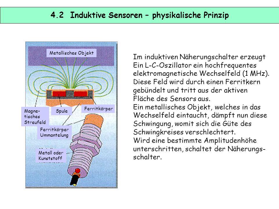 4.1 Induktive Sensoren Induktive Sensoren eignen sich zur Anwesenheits- kontrolle oder zur Abstandsmessung von Objekten aus elektrisch oder magnetisch