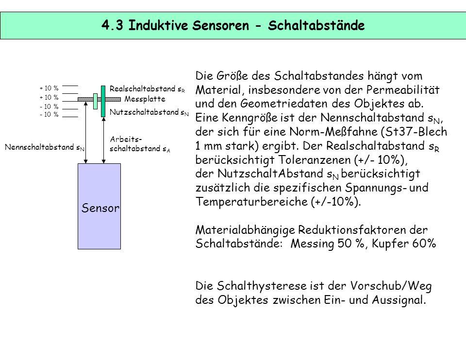 4.2 Induktive Sensoren – physikalische Prinzip Im induktiven Näherungschalter erzeugt Ein L-C-Oszillator ein hochfrequentes elektromagnetische Wechsel