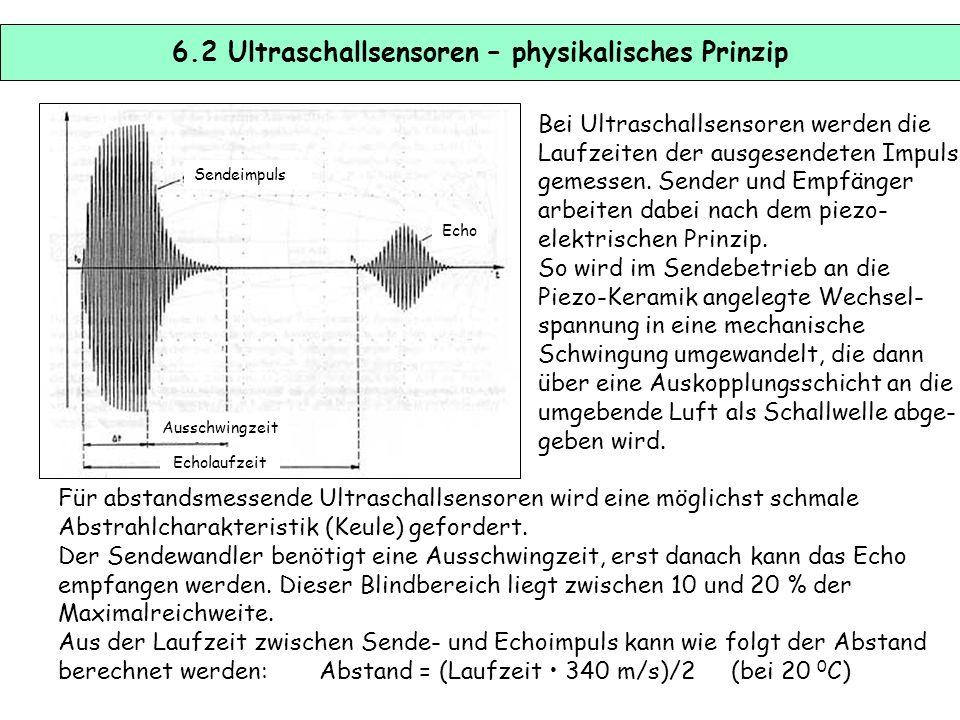 6.1 Ultraschallsensoren Ultraschallsensoren gehören zu den akustischen Sensoren und eigenen sich zur Abstandmessung und Anwesenheitskon- trolle von Ob
