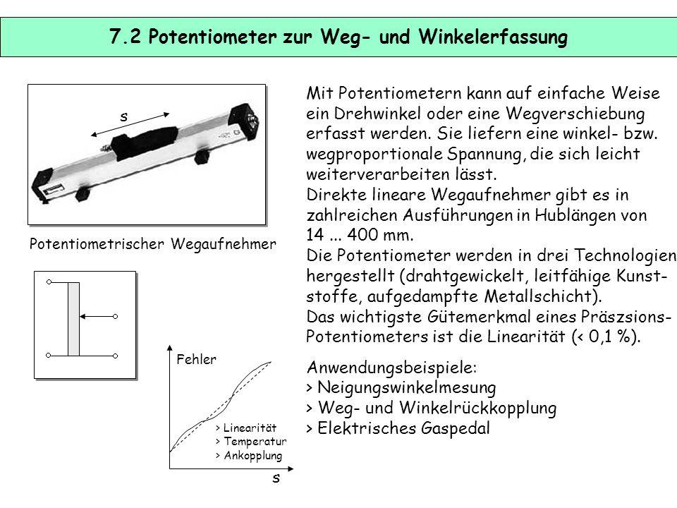 7.1 Weg- und Winkelsensoren Weg- und Winkelsensoren werden in materialflusstechnischen Prozessen sehr häufig zur Bestimmung von Achs- positionen einge
