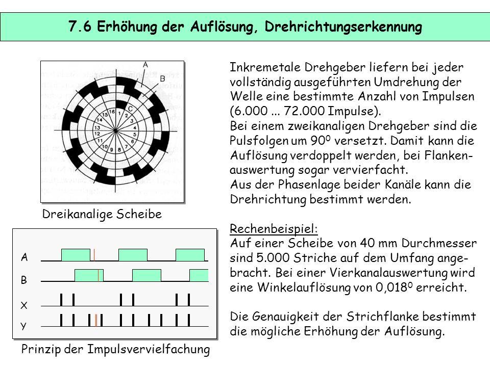 7.5 Inkrementale und codierte Messsysteme Inkremental: Der gesamte Messweg ist in gleich große, abzählbare Intervalle zerlegt. Die Anzahl der Interval