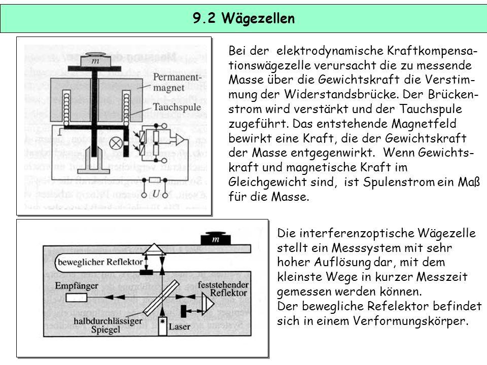 9.1 Wägezellen Massen können bestimmt werden, indem die der Masse proportionale Gewichtskraft ermittelt wird (G = m g). DMS-Wägezellen entsprechen pri