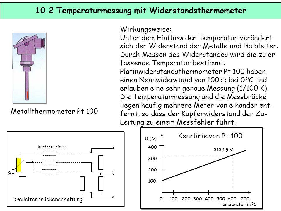 10.1 Temperaturmessung mit Thermoelementen Wirkungsweise: Werden zwei Drähte aus unterschiedlichen Materialien A und B an einem Ende mitein- ander ver