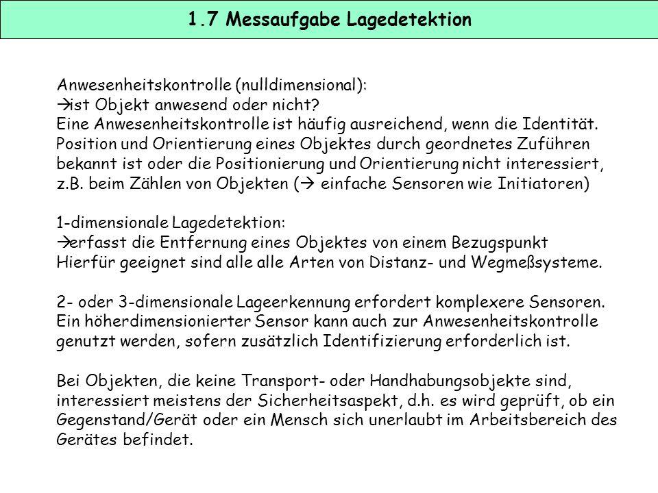 1.6 Messaufgabe Lagedetektion  taktil (mechanischer Taster)  optisch (optische Sensoren, CCD-Kamera, Laserscanner)  magnetisch (Reedkontakt)  indu