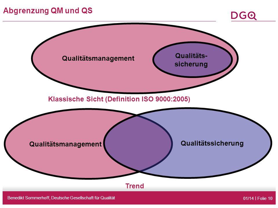 01/14 | Folie 10 Abgrenzung QM und QS Benedikt Sommerhoff, Deutsche Gesellschaft für Qualität Qualitätsmanagement Qualitäts- sicherung Klassische Sicht (Definition ISO 9000:2005) Qualitätsmanagement Trend Qualitätssicherung