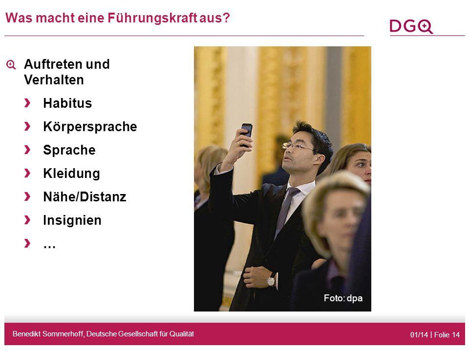 01/14 | Folie 14 Was macht eine Führungskraft aus? Benedikt Sommerhoff, Deutsche Gesellschaft für Qualität Auftreten und Verhalten › Habitus › Körpers