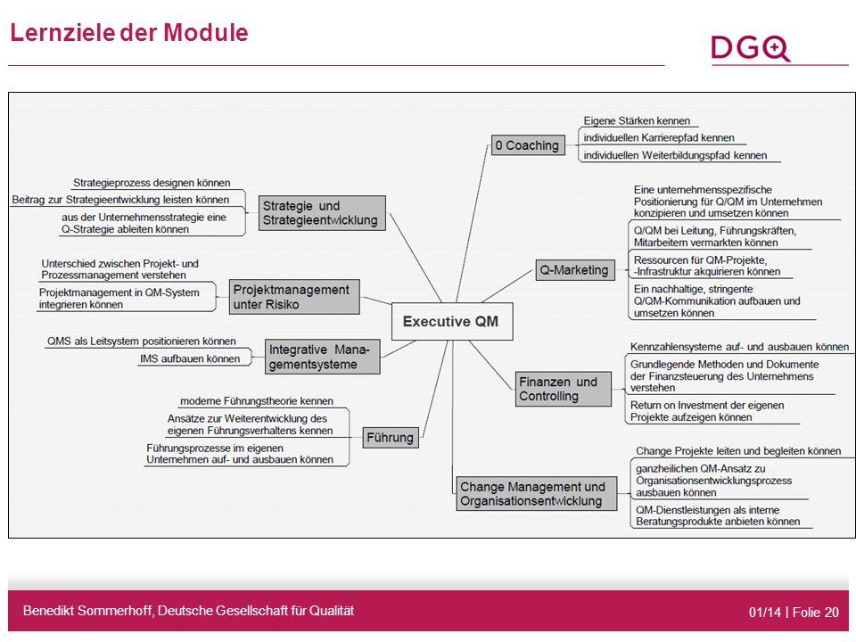 01/14 | Folie 20 Lernziele der Module Benedikt Sommerhoff, Deutsche Gesellschaft für Qualität