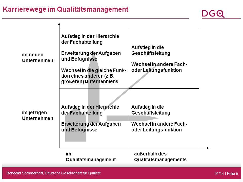 01/14 | Folie 5 Karrierewege im Qualitätsmanagement Benedikt Sommerhoff, Deutsche Gesellschaft für Qualität Aufstieg in der Hierarchie der Fachabteilu