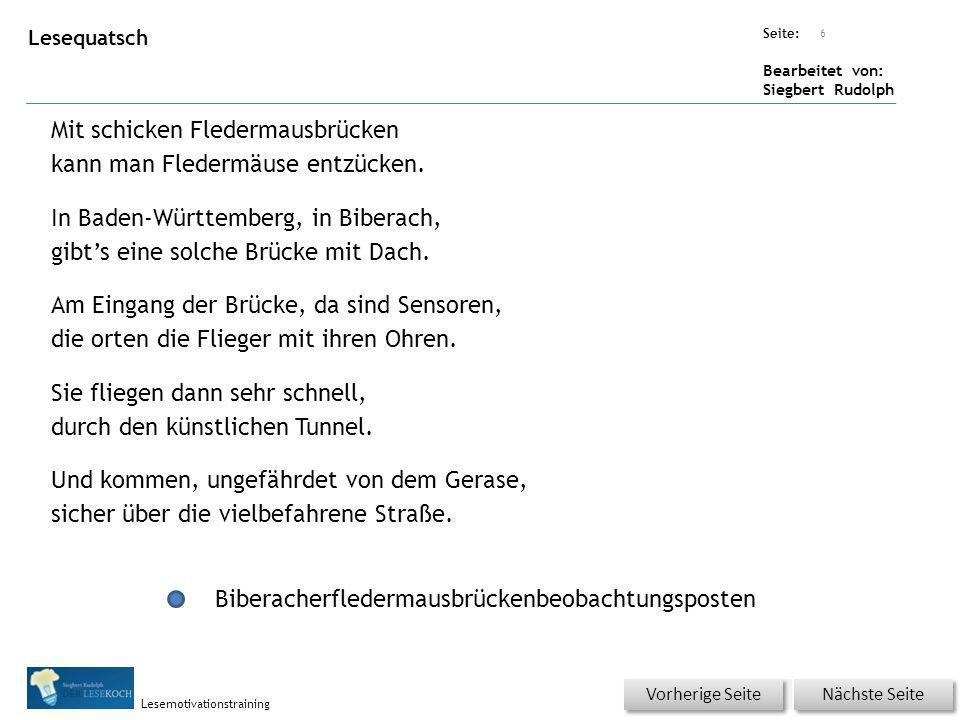 Übungsart: Seite: Bearbeitet von: Siegbert Rudolph Lesemotivationstraining Lesequatsch Mit schicken Fledermausbrücken kann man Fledermäuse entzücken.