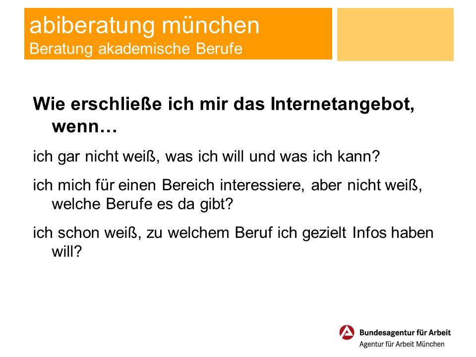 abiberatung münchen Beratung akademische Berufe Ihre Ansprechpartner in der Agentur für Arbeit München Beratung für akademische Berufe - Fragen zum Studium für gut hörende Jugendliche und hörgeschädigte Jugendliche - Fragen zur Ausbildung für gut hörende Jugendliche e-mail: Susanne.Grueny@arbeitsagentur.de Tel.: 01801-555111 Reha-Beratung U25 - Fragen zur Ausbildung für hörgeschädigte Jugendliche - Abklärung von Fördermöglichkeiten e-mail: Muenchen.RehaU25@arbeitsagentur.de