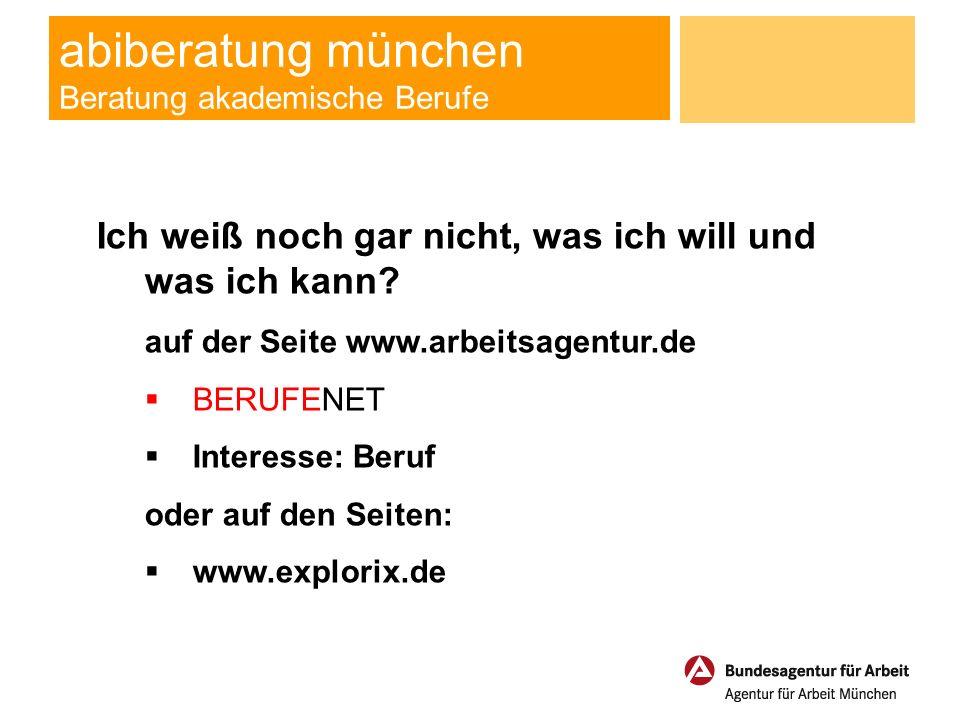 abiberatung münchen Beratung akademische Berufe Interesse: Beruf