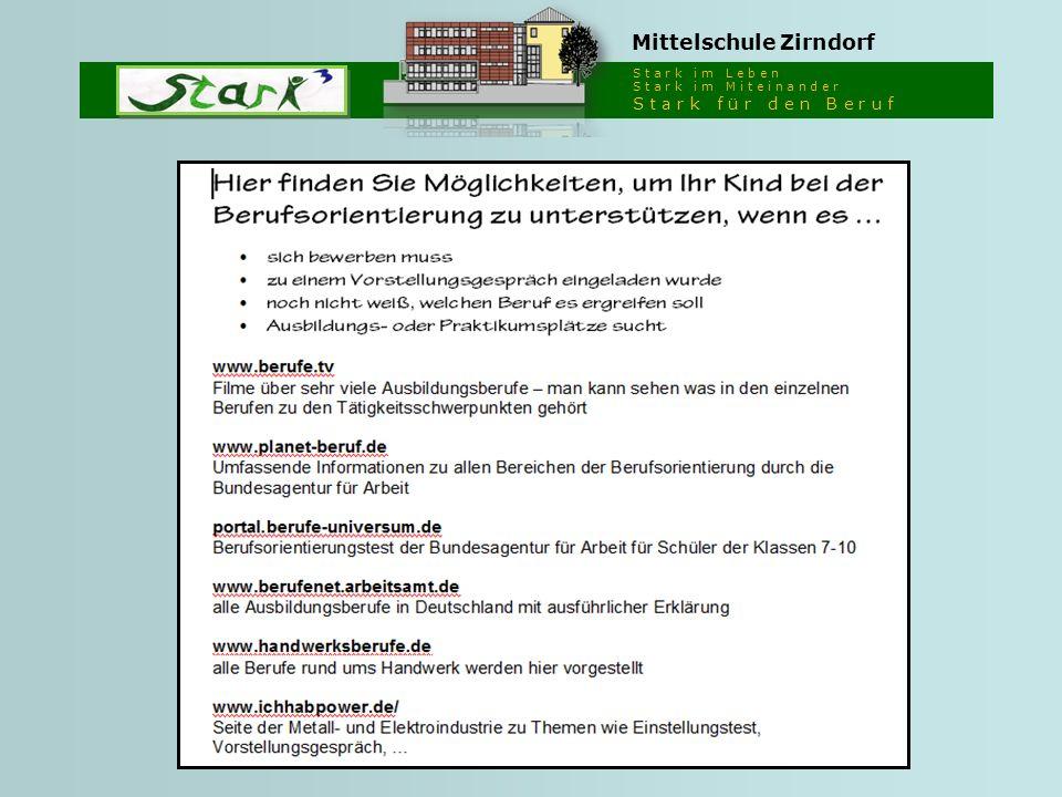 S t a r k i m L e b e n S t a r k i m M i t e i n a n d e r S t a r k f ü r d e n B e r u f Mittelschule Zirndorf