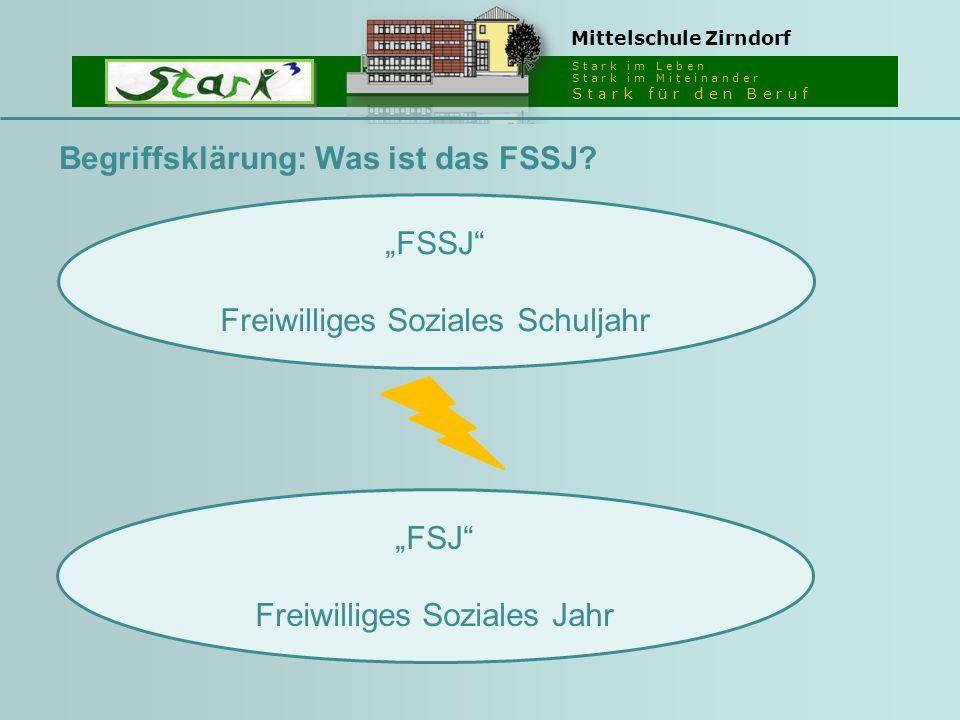 """S t a r k i m L e b e n S t a r k i m M i t e i n a n d e r S t a r k f ü r d e n B e r u f Mittelschule Zirndorf """"FSSJ Freiwilliges Soziales Schuljahr Begriffsklärung: Was ist das FSSJ."""