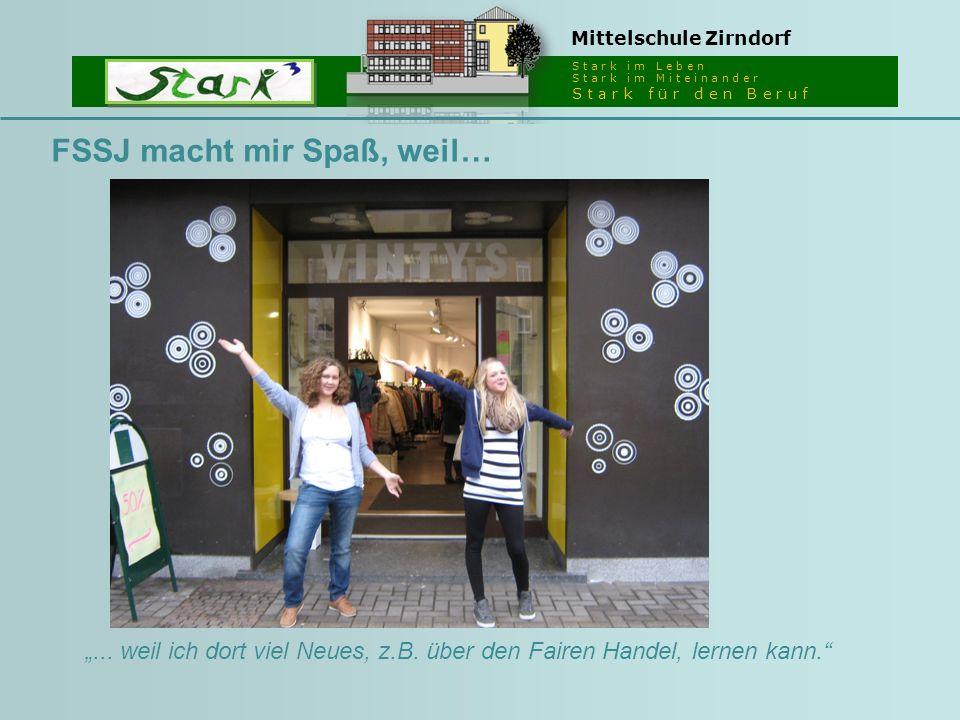 """S t a r k i m L e b e n S t a r k i m M i t e i n a n d e r S t a r k f ü r d e n B e r u f Mittelschule Zirndorf FSSJ macht mir Spaß, weil… """"... weil"""
