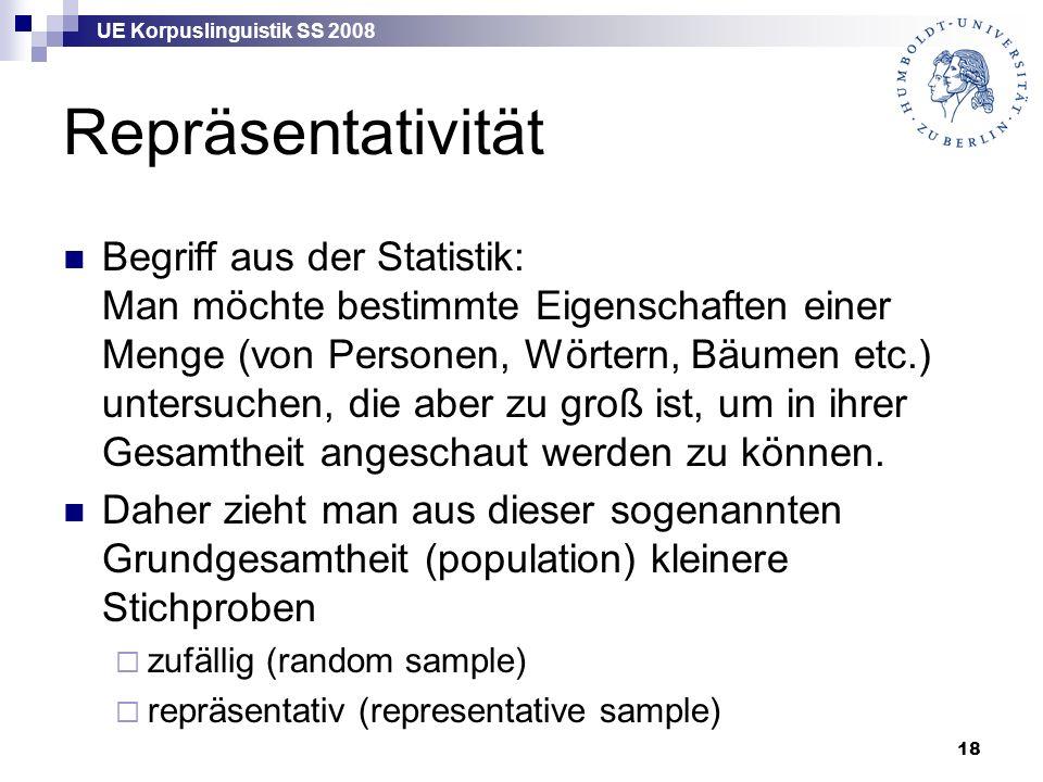 UE Korpuslinguistik SS 2008 18 Repräsentativität Begriff aus der Statistik: Man möchte bestimmte Eigenschaften einer Menge (von Personen, Wörtern, Bäumen etc.) untersuchen, die aber zu groß ist, um in ihrer Gesamtheit angeschaut werden zu können.