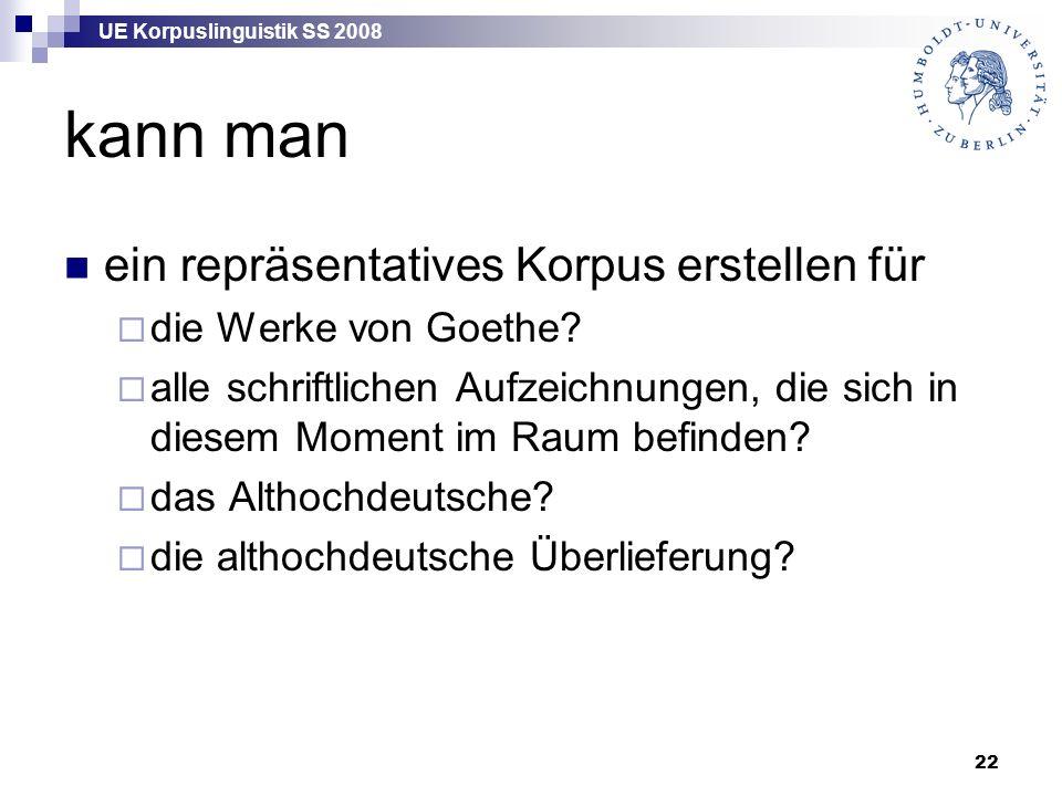UE Korpuslinguistik SS 2008 22 kann man ein repräsentatives Korpus erstellen für  die Werke von Goethe?  alle schriftlichen Aufzeichnungen, die sich