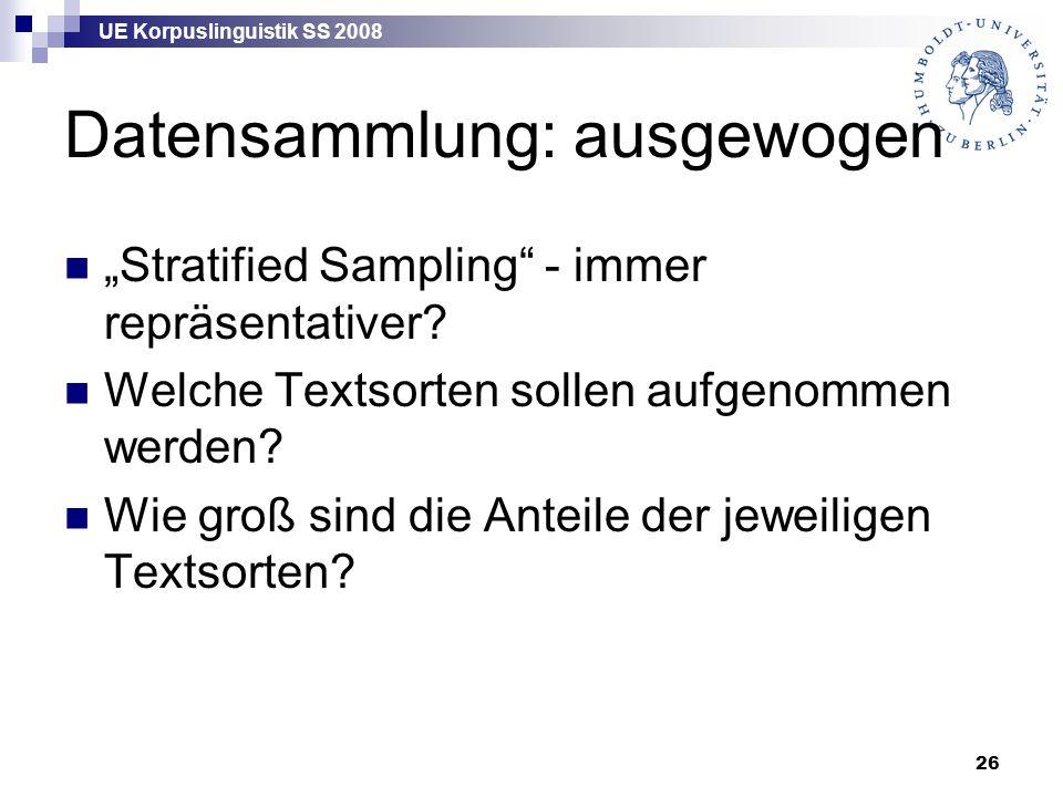 """UE Korpuslinguistik SS 2008 26 Datensammlung: ausgewogen """"Stratified Sampling - immer repräsentativer."""