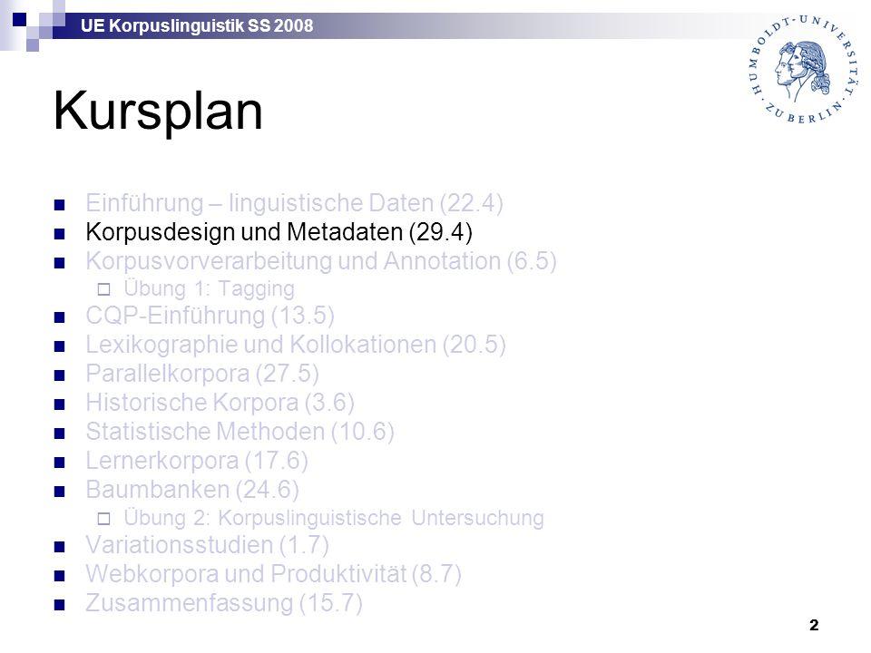UE Korpuslinguistik SS 2008 2 Kursplan Einführung – linguistische Daten (22.4) Korpusdesign und Metadaten (29.4) Korpusvorverarbeitung und Annotation (6.5)  Übung 1: Tagging CQP-Einführung (13.5) Lexikographie und Kollokationen (20.5) Parallelkorpora (27.5) Historische Korpora (3.6) Statistische Methoden (10.6) Lernerkorpora (17.6) Baumbanken (24.6)  Übung 2: Korpuslinguistische Untersuchung Variationsstudien (1.7) Webkorpora und Produktivität (8.7) Zusammenfassung (15.7)
