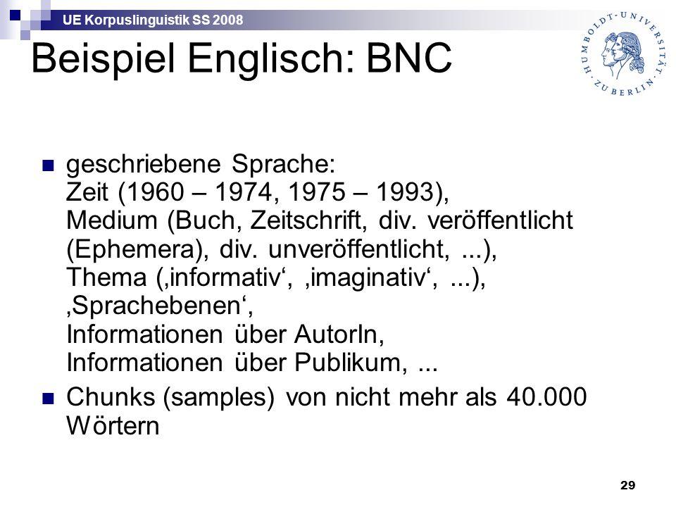 UE Korpuslinguistik SS 2008 29 Beispiel Englisch: BNC geschriebene Sprache: Zeit (1960 – 1974, 1975 – 1993), Medium (Buch, Zeitschrift, div.