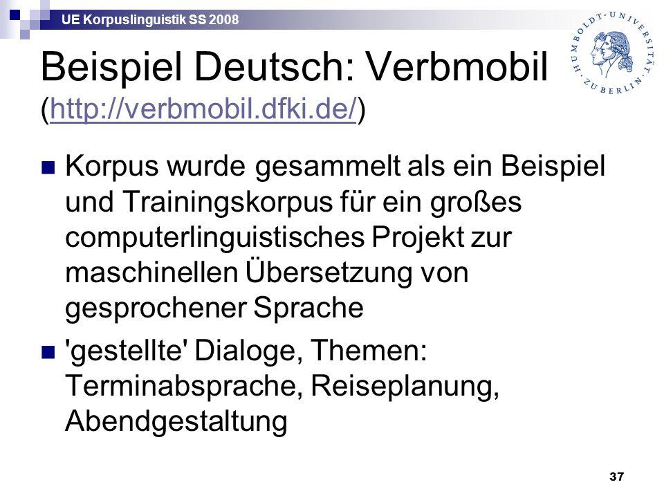 UE Korpuslinguistik SS 2008 37 Beispiel Deutsch: Verbmobil (http://verbmobil.dfki.de/)http://verbmobil.dfki.de/ Korpus wurde gesammelt als ein Beispiel und Trainingskorpus für ein großes computerlinguistisches Projekt zur maschinellen Übersetzung von gesprochener Sprache gestellte Dialoge, Themen: Terminabsprache, Reiseplanung, Abendgestaltung
