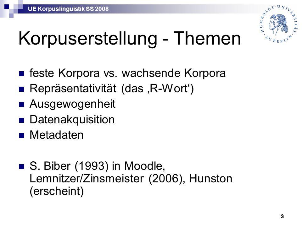 UE Korpuslinguistik SS 2008 3 Korpuserstellung - Themen feste Korpora vs. wachsende Korpora Repräsentativität (das 'R-Wort') Ausgewogenheit Datenakqui