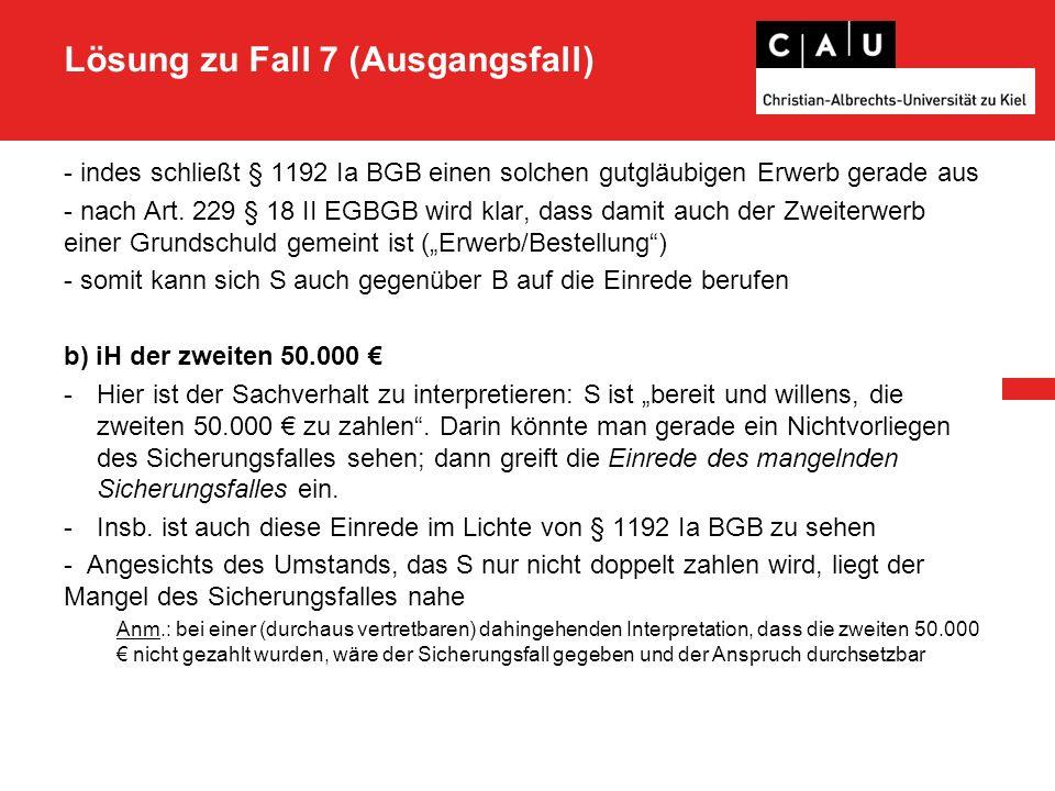 Lösung zu Fall 7 (Ausgangsfall) - indes schließt § 1192 Ia BGB einen solchen gutgläubigen Erwerb gerade aus - nach Art.