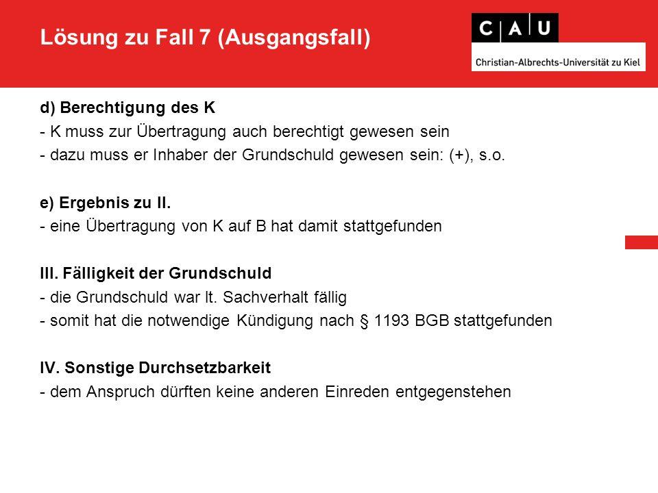 Zusatzfall 2.Enthaftung nach §§ 1121 I, 1122 II BGB -I.R.v.