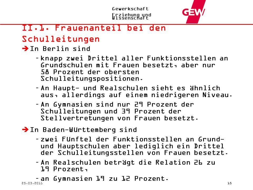 Gewerkschaft Erziehung und Wissenschaft 25.03.201115 II.1. Frauenanteil bei den Schulleitungen  In Berlin sind –knapp zwei Drittel aller Funktionsste