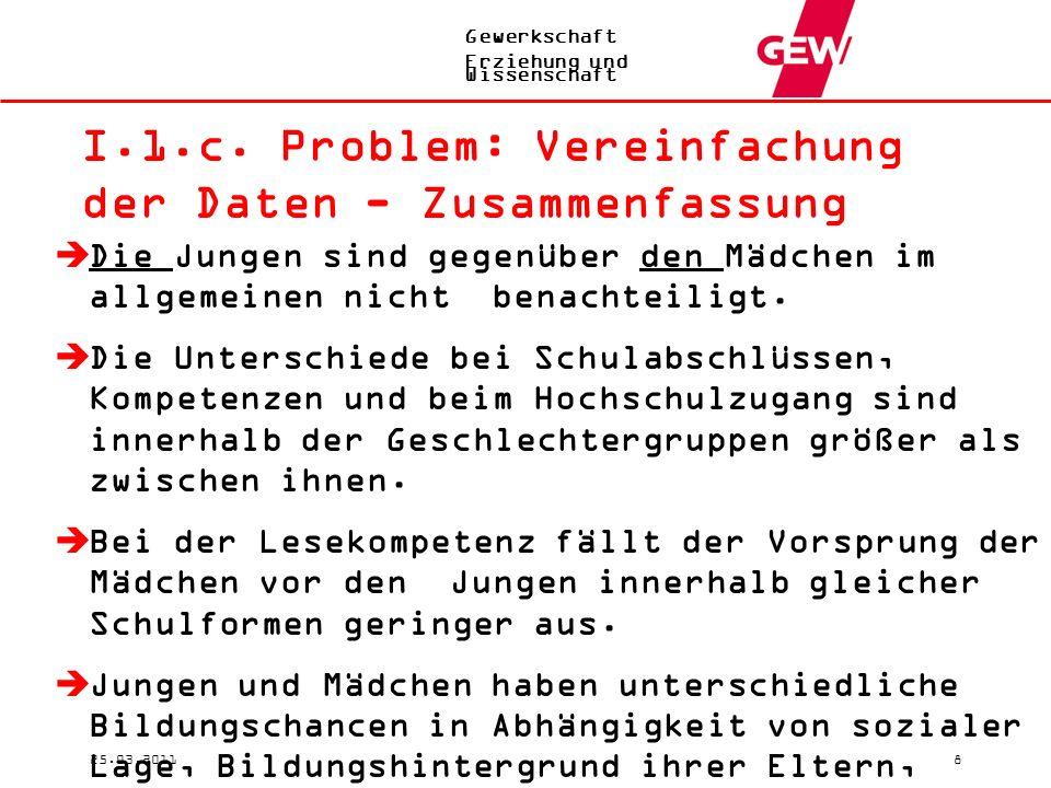 Gewerkschaft Erziehung und Wissenschaft 25.03.20118 I.1.c.