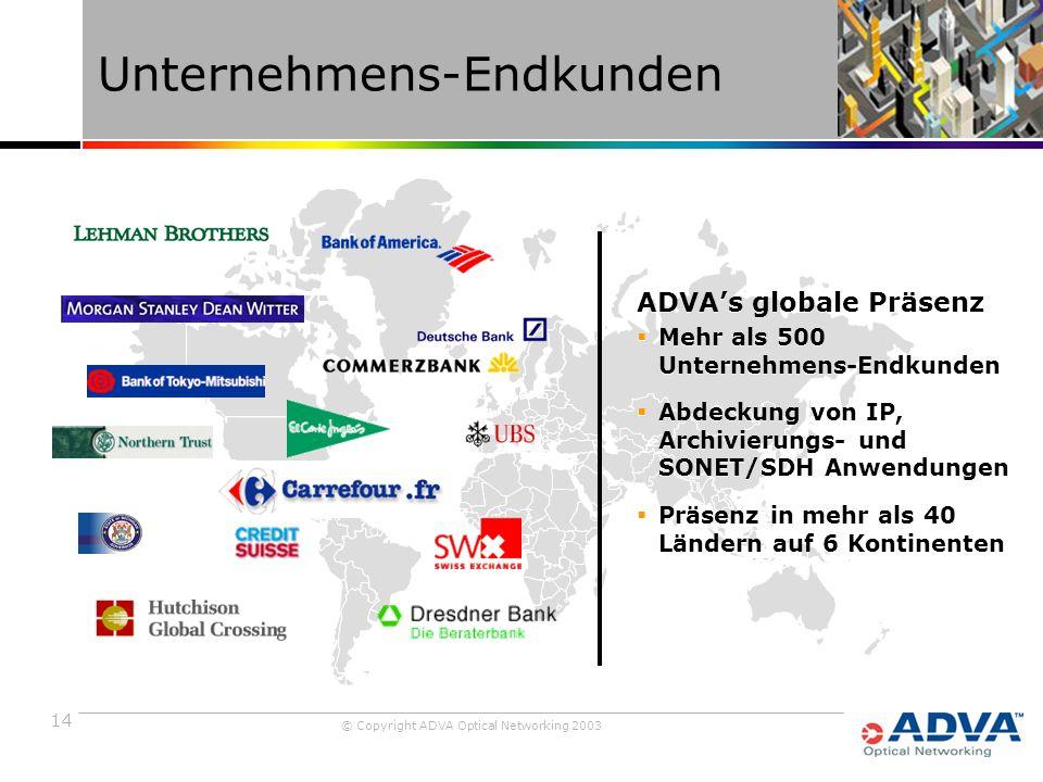 14 © Copyright ADVA Optical Networking 2003 Unternehmens-Endkunden ADVA's globale Präsenz  Mehr als 500 Unternehmens-Endkunden  Abdeckung von IP, Archivierungs- und SONET/SDH Anwendungen  Präsenz in mehr als 40 Ländern auf 6 Kontinenten ADVA's globale Präsenz  Mehr als 500 Unternehmens-Endkunden  Abdeckung von IP, Archivierungs- und SONET/SDH Anwendungen  Präsenz in mehr als 40 Ländern auf 6 Kontinenten
