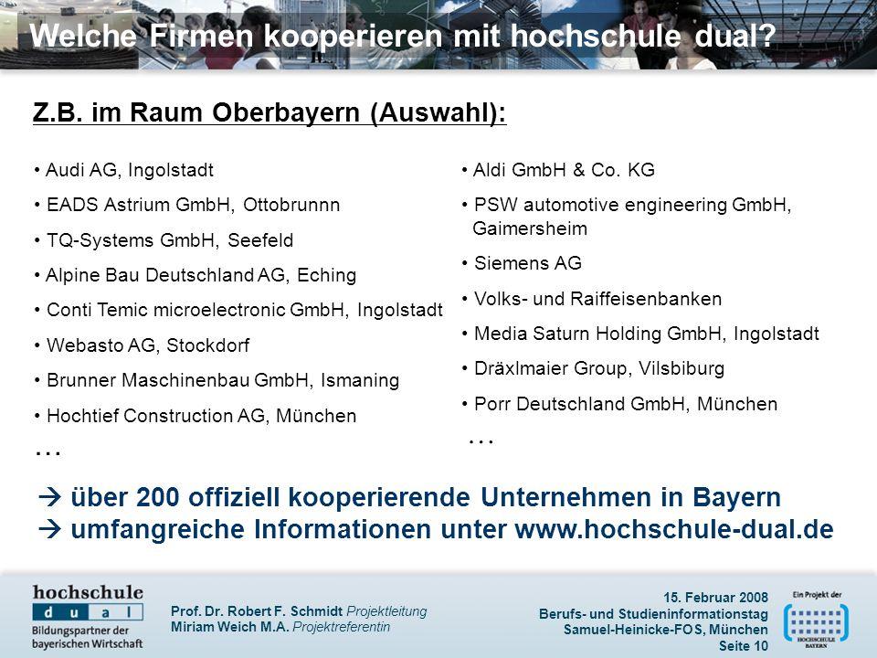 Prof. Dr. Robert F. Schmidt Projektleitung Miriam Weich M.A. Projektreferentin 15. Februar 2008 Berufs- und Studieninformationstag Samuel-Heinicke-FOS