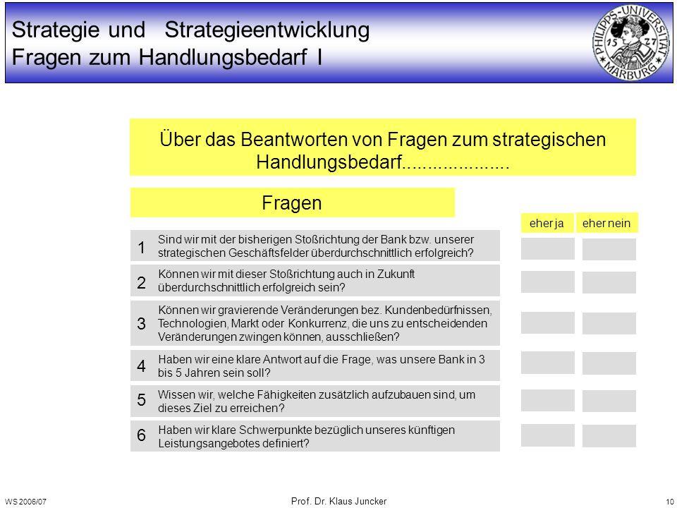 WS 2006/07 Prof. Dr. Klaus Juncker 10 Strategie und Strategieentwicklung Fragen zum Handlungsbedarf I Sind wir mit der bisherigen Stoßrichtung der Ban
