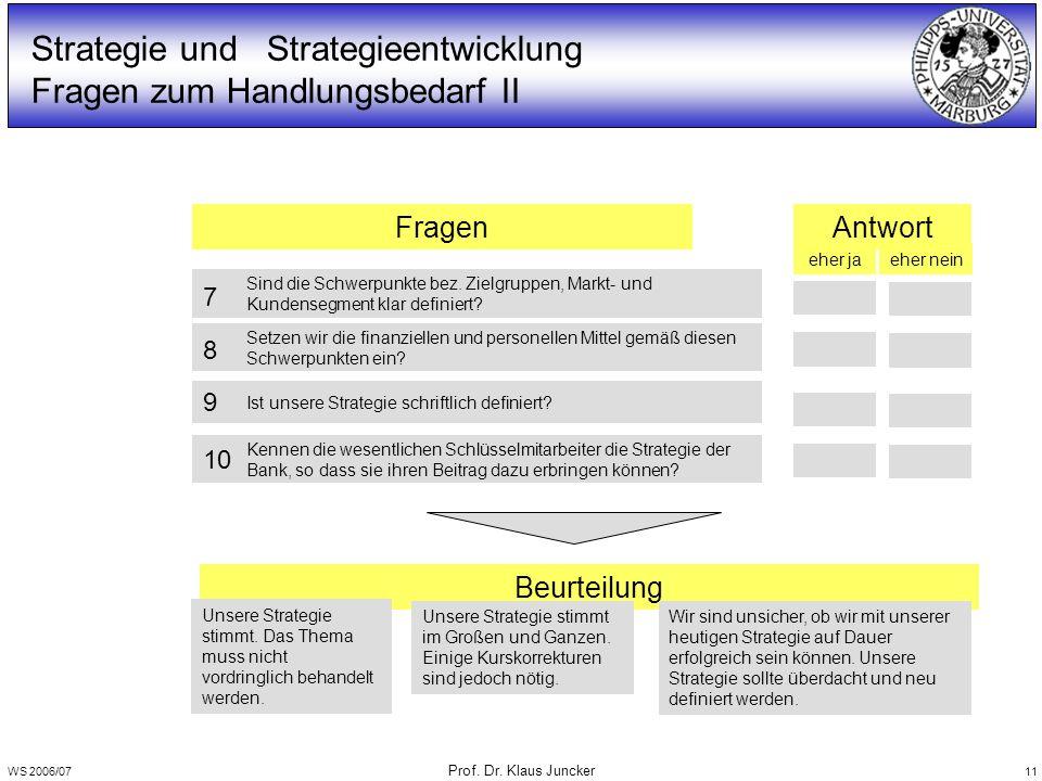 WS 2006/07 Prof. Dr. Klaus Juncker 11 Beurteilung Unsere Strategie stimmt. Das Thema muss nicht vordringlich behandelt werden. Unsere Strategie stimmt