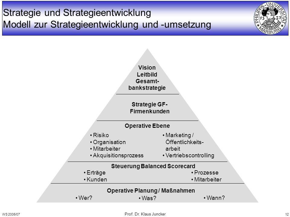 WS 2006/07 Prof. Dr. Klaus Juncker 12 Strategie und Strategieentwicklung Modell zur Strategieentwicklung und -umsetzung Vision Leitbild Gesamt- bankst
