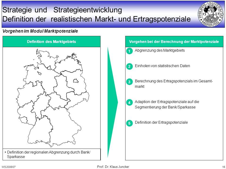 WS 2006/07 Prof. Dr. Klaus Juncker 16 Strategie und Strategieentwicklung Definition der realistischen Markt- und Ertragspotenziale Definition des Mark