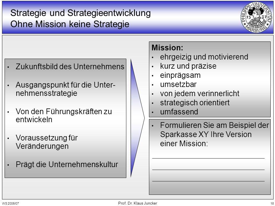 WS 2006/07 Prof. Dr. Klaus Juncker 18 Zukunftsbild des Unternehmens Ausgangspunkt für die Unter- nehmensstrategie Von den Führungskräften zu entwickel
