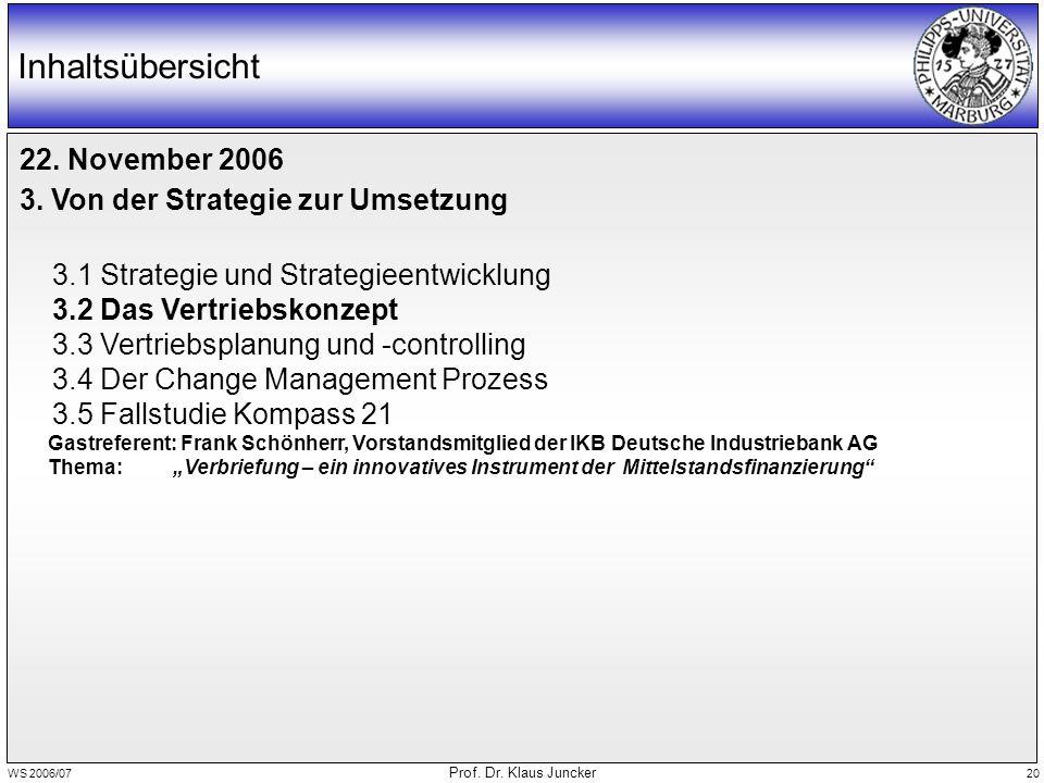 WS 2006/07 Prof. Dr. Klaus Juncker 20 Inhaltsübersicht 22. November 2006 3. Von der Strategie zur Umsetzung 3.1 Strategie und Strategieentwicklung 3.2