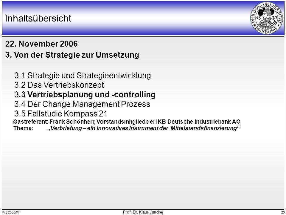 WS 2006/07 Prof. Dr. Klaus Juncker 23 Inhaltsübersicht 22. November 2006 3. Von der Strategie zur Umsetzung 3.1 Strategie und Strategieentwicklung 3.2