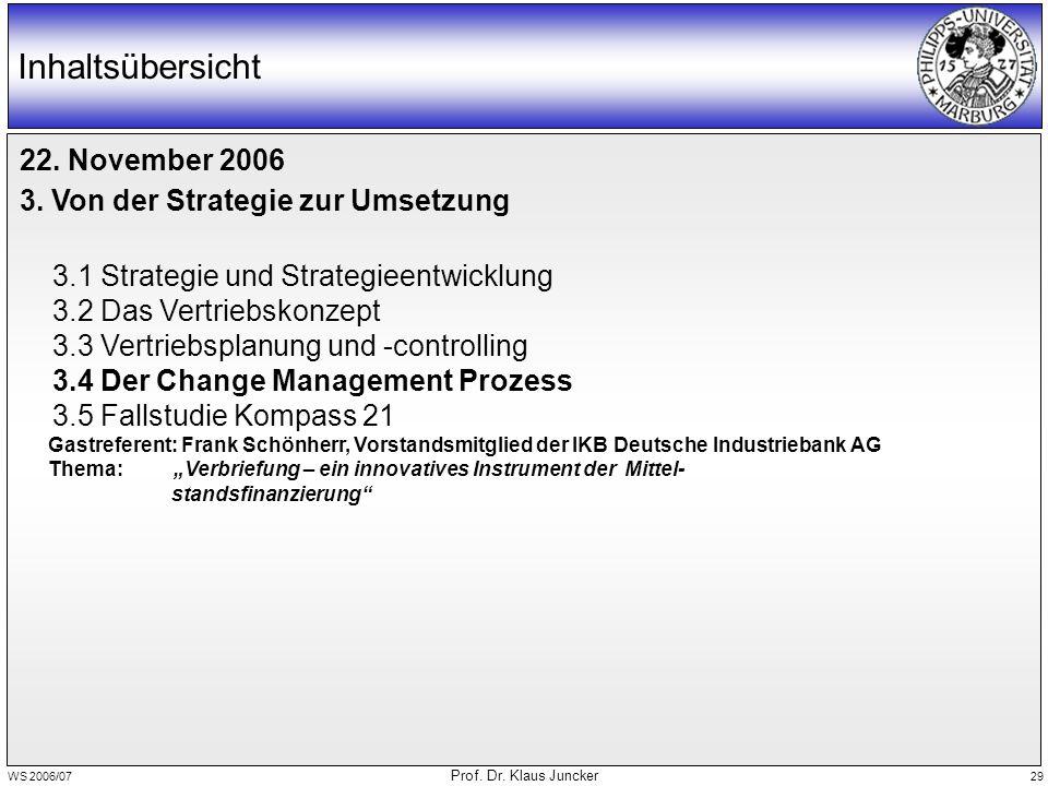 WS 2006/07 Prof. Dr. Klaus Juncker 29 Inhaltsübersicht 22. November 2006 3. Von der Strategie zur Umsetzung 3.1 Strategie und Strategieentwicklung 3.2