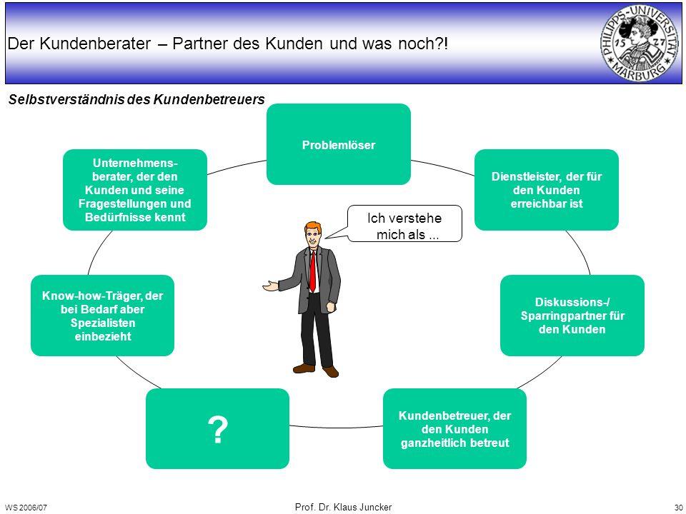 WS 2006/07 Prof. Dr. Klaus Juncker 30 Selbstverständnis des Kundenbetreuers Der Kundenberater – Partner des Kunden und was noch?! Problemlöser Unterne