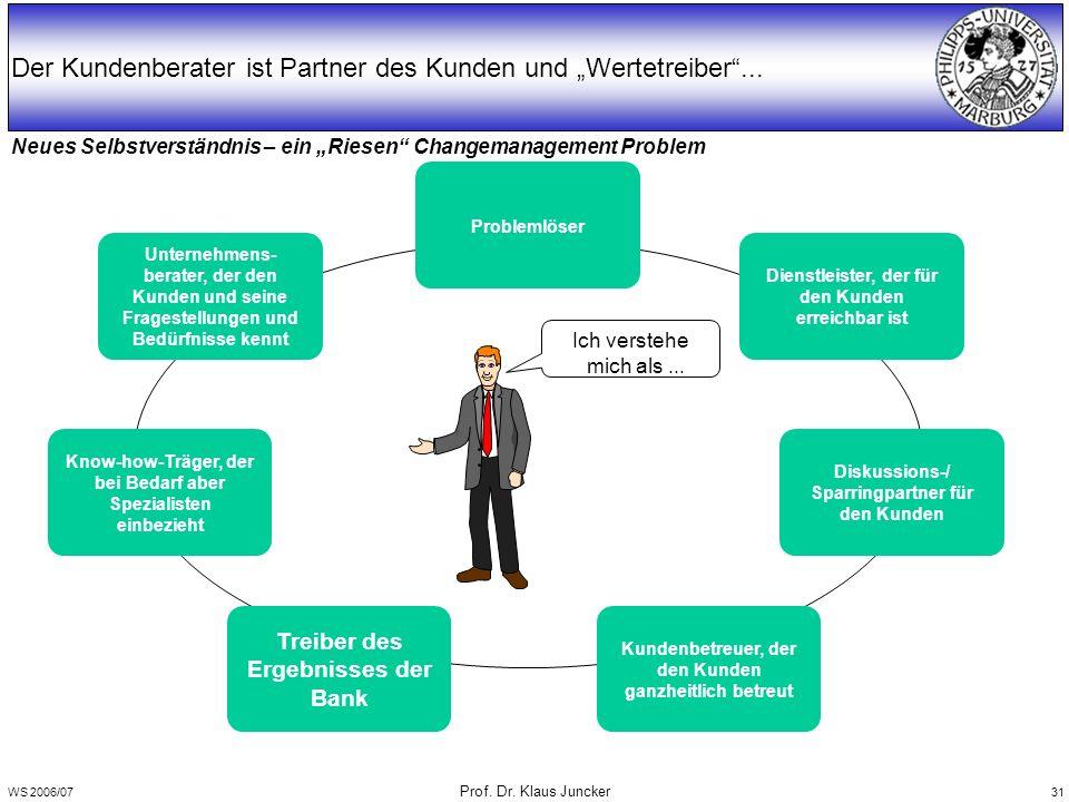 """WS 2006/07 Prof. Dr. Klaus Juncker 31 Neues Selbstverständnis – ein """"Riesen"""" Changemanagement Problem Der Kundenberater ist Partner des Kunden und """"We"""