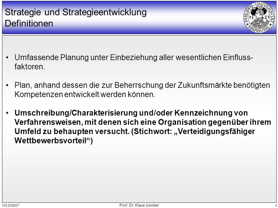 WS 2006/07 Prof. Dr. Klaus Juncker 4 Strategie und Strategieentwicklung Definitionen Umfassende Planung unter Einbeziehung aller wesentlichen Einfluss