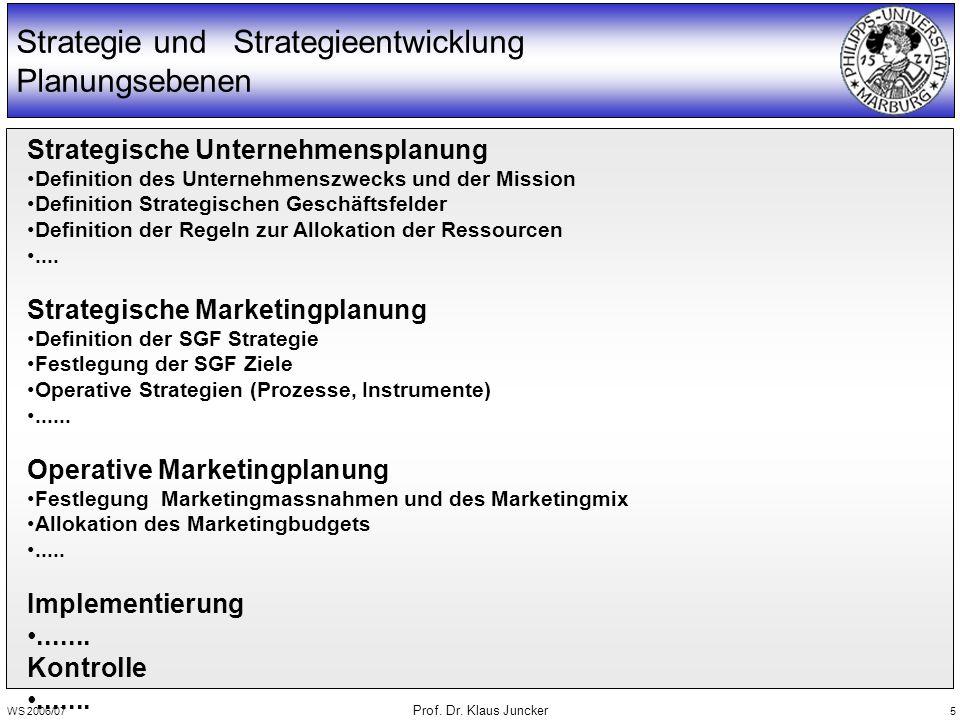 WS 2006/07 Prof. Dr. Klaus Juncker 5 Strategie und Strategieentwicklung Planungsebenen Strategische Unternehmensplanung Definition des Unternehmenszwe