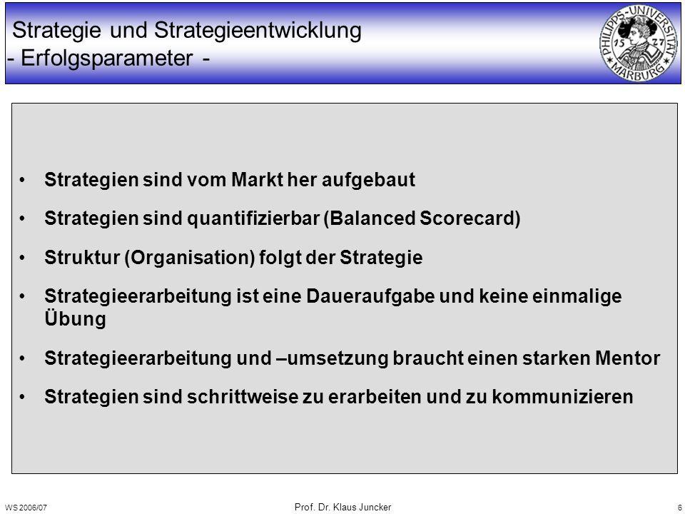 WS 2006/07 Prof. Dr. Klaus Juncker 6 Strategie und Strategieentwicklung - Erfolgsparameter - Strategien sind vom Markt her aufgebaut Strategien sind q
