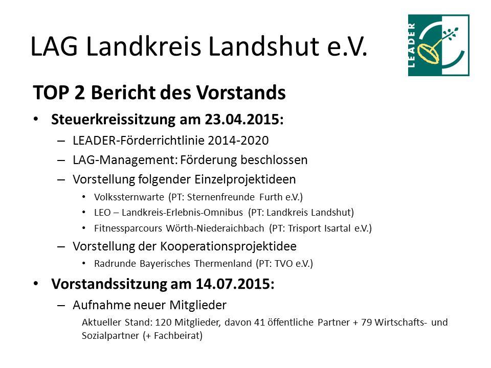 LAG Landkreis Landshut e.V. TOP 2 Bericht des Vorstands Steuerkreissitzung am 23.04.2015: – LEADER-Förderrichtlinie 2014-2020 – LAG-Management: Förder