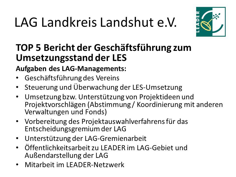 LAG Landkreis Landshut e.V. TOP 5 Bericht der Geschäftsführung zum Umsetzungsstand der LES Aufgaben des LAG-Managements: Geschäftsführung des Vereins