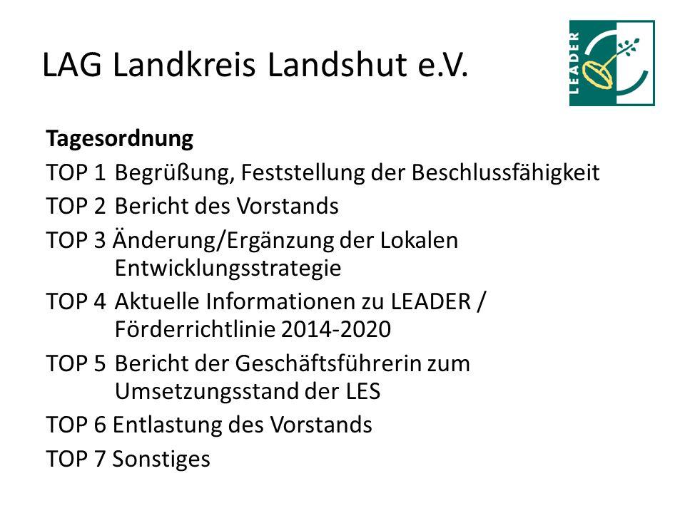 LAG Landkreis Landshut e.V. Tagesordnung TOP 1Begrüßung, Feststellung der Beschlussfähigkeit TOP 2Bericht des Vorstands TOP 3 Änderung/Ergänzung der L