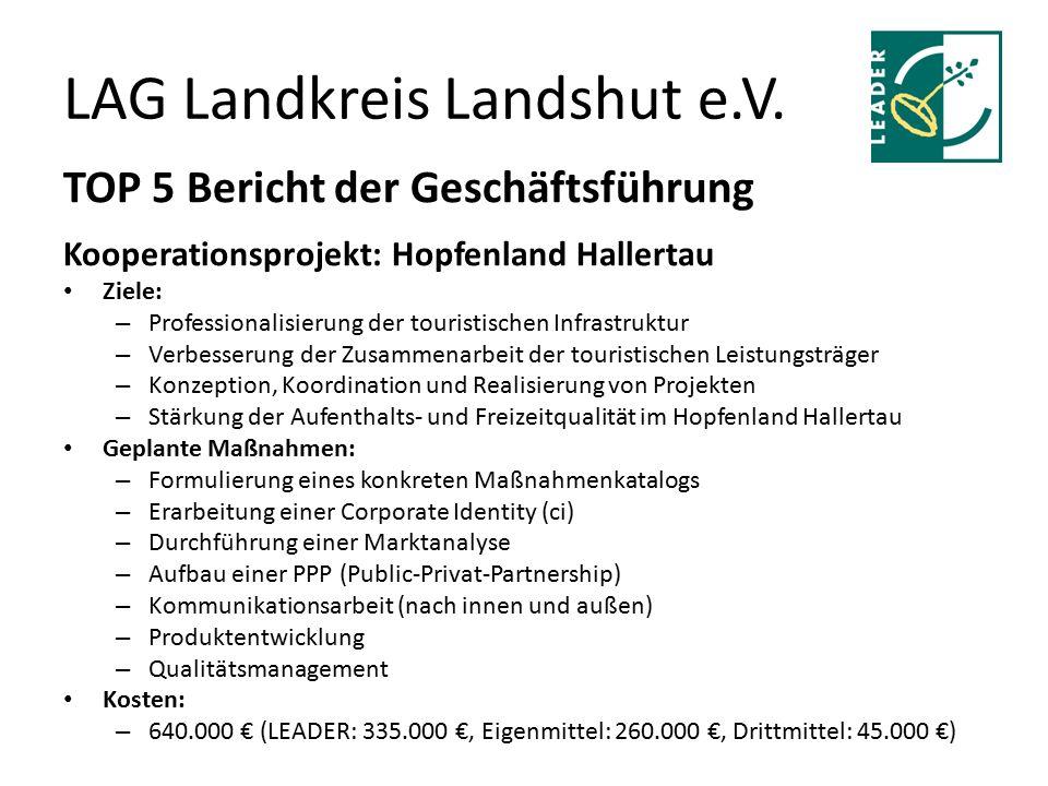 LAG Landkreis Landshut e.V. TOP 5 Bericht der Geschäftsführung Kooperationsprojekt: Hopfenland Hallertau Ziele: – Professionalisierung der touristisch