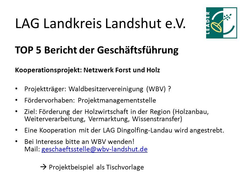 LAG Landkreis Landshut e.V. TOP 5 Bericht der Geschäftsführung Kooperationsprojekt: Netzwerk Forst und Holz Projektträger: Waldbesitzervereinigung (WB