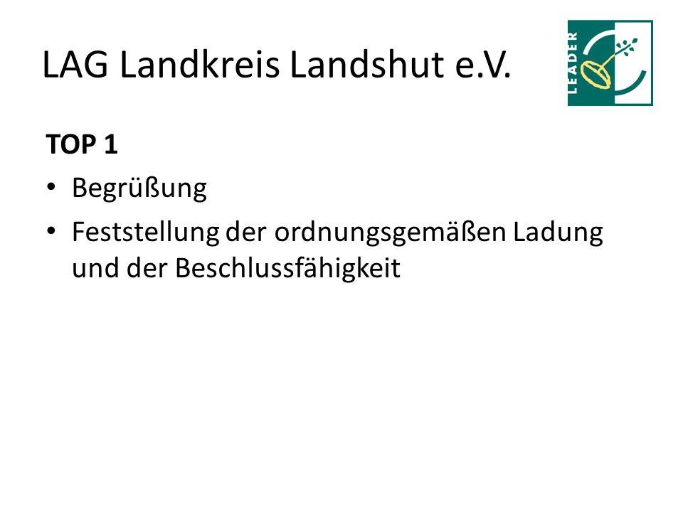 LAG Landkreis Landshut e.V. TOP 1 Begrüßung Feststellung der ordnungsgemäßen Ladung und der Beschlussfähigkeit